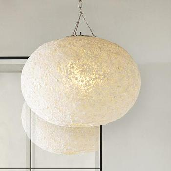 Lighting - Kai Shell Pendant | Pottery Barn - round floral shell pendant, circular white shell pendant, sphere shaped shell pendant,