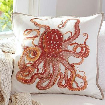 Pillows - La Paz Jeweled Octopus Pillow Covers | Pottery Barn - octopus pillow, orange octopus pillow, beaded octopus pillow,