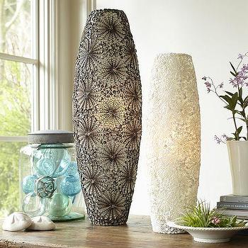 Lighting - Kai Shell Ambient Cylinder Table Lamps | Pottery Barn - cylinder shaped shell table lamp, cut shell table lamp, contemporary shell table lamp,