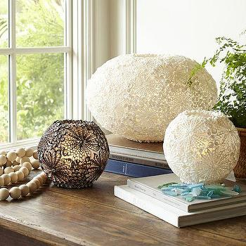 Lighting - Kai Shell Ambient Round Table Lamps | Pottery Barn - shell table lamps, floral shell table lamp, botanical shell table lamp,