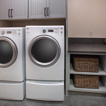 Gray Beadboard Cabinets, Transitional, laundry room, RH Homes