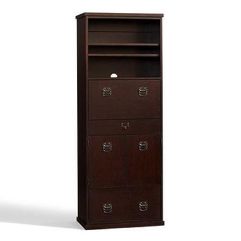 Storage Furniture - Bedford Office Work Tower | Pottery Barn - espresso tall filing cabinet, wooden filing cabinet tower, espresso stained office work tower,