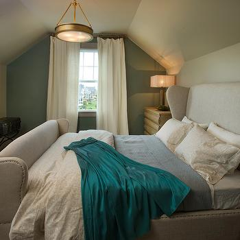 RH Homes - bedrooms - Restoration Hardware - Blue Sage - accent wall, blue sage wall, bedroom accent wall, restoration hardware paint colors, blue sage paint colors, wing bed, wingback headboard, french wing bed, french wingback bed, attic bedroom,