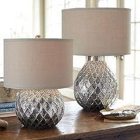 Lighting - Nola Table Lamp Bases | Pottery Barn - silver antiqued table lamp, antiqued silver quatrefoil table lamp, silver teardrop shaped table lamp,