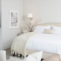 Leo Designs Chicago - bedrooms - camelback headboard, cream headboard, cream bed, nailhead headboard, nailhead bed, cream throw, gray bedside table, swing arm sconce, soothing bedrooms, gray bedside table, elegant bedrooms, soothing bedrooms,