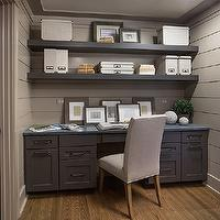 RH Homes - dens/libraries/offices - Benjamin Moore - Rocky Beach - pass through office, tongue and groove, office, office paneling, paneled office, gray tongue and groove, taupe tongue and groove, taupe wall paneling, gray wall paneling, gray wall panels, floating shelves, gray floating shelves, gray floating shelf, built in desk, gray desk, gray built in desk, parsons chair, taupe parsons chair,