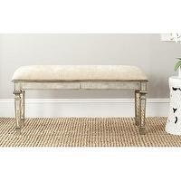 Seating - Safavieh Gray Layla Wood Entryway Bench | Wayfair - mirrored bench, mirrored bench with ivory seat, antiqued mirrored bench,
