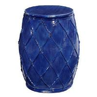 Seating - Net Ceramic Stool | Pottery Barn - cobalt blue stool, cobalt blue garden stool, blue glazed ceramic stool,