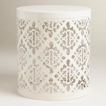 Seating - White Lailani Stool | World Market - contemporary white stool, laser cut white stool, laser cut white metal stool,