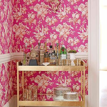 Traditional Home - kitchens - pink dining room, white and pink dining room, dining room wallpaper, pink wallpaper, white and pink wallpaper, pink floral wallpaper, dining room chair rail, chair rail dining room, bar cart, brass bar cart,