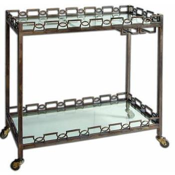 Storage Furniture - Uttermost Nicoline Serving Cart | Wayfair - forged iron bar cart, iron bar cart with glass shelves, transitional bar cart, gold bar cart, antiqued gold bar cart,