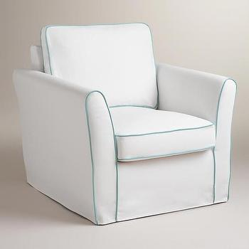 Seating - White and Blue Luxe Chair Slipcover | World Market - white slipcover with blue piping, white armchair slipcover with blue piping, white armchair slipcover with aqua blue piping,