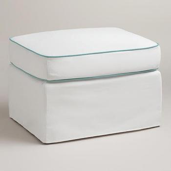 Seating - White and Blue Ottoman Slipcover | World Market - white and blue ottoman slipcover, white ottoman slipcover with blue piping, white ottoman slipcover with aqua blue piping,