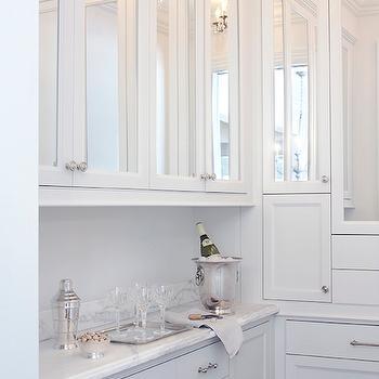 Mirrored Cabinet Doors Contemporary Kitchen