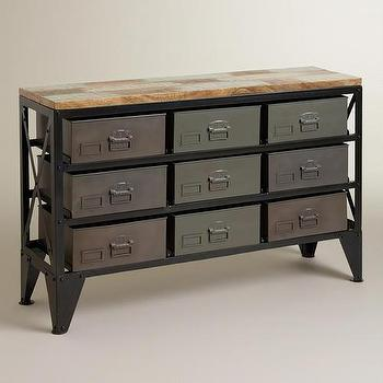 Storage Furniture - Zarina Metal Bin Console Table | World Market - industrial style console table, console table with metal storage bins, console table with metal storage drawers,