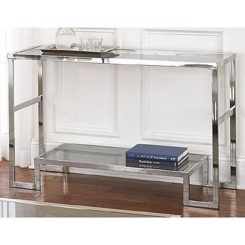 Tables - Cordele Chrome and Glass Sofa Table | Overstock.com - chrome and glass console table, chrome and glass sofa table, contemporary chrome and glass console table,