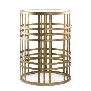 Tables - 'Weave' Metal Barrel End Table | Overstock.com Shopping - gold barrel end tabe, contemporary gold end table, art deco style gold end table, antique gold barrel end table,