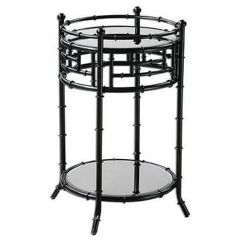 Tables - Uttermost Antonia End Table | Wayfair - round iron end table, round forged iron end table, iron end table with mirrored top, iron end table with mirror top and gallery shelf,