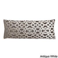 Pillows - Damon Scroll 14 x 37-inch Throw Pillow | Overstock.com - gray velvet geometric pillow, rectangular gray and ivory geometric pillow, gray and ivory velvet scroll pillow,