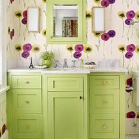 Traditional Home - bathrooms: poppy wallpaper, poppies wallpaper, modern floral wallpaper, green mirror, green vanity mirror, green medicine cabinet, green framed medicine cabinet, painted medicine cabinet, green vanity, green washstand, white marble countertops, bamboo sconce, bamboo wall sconce, marble basketweave floor, green paint, green paint colors, benjamin moore greens,