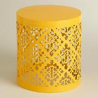 Seating - Yellow Lailani Stool | World Market - contemporary yellow stool, yellow laser cut stool, round yellow geometric stool,