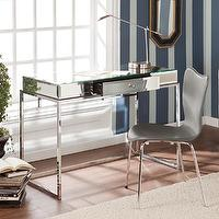 Storage Furniture - Upton Home Adelie Mirrored Writing Desk | Overstock.com - mirrored desk, mirrored writing desk, mirrored desk with chrome base, contemporary mirrored desk with chrome base,