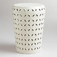Seating - White Lili Punched Drum Stool | World Market - white drum garden stool, white pierced garden stool, white geometric garden stool,