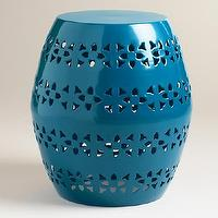 Seating - Mykonos Blue Floral Sonia Stool | World Market - cobalt blue garden stool, punched floral blue stool, blue garden stool, bright blue garden stool,