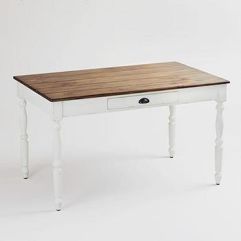 Tables - White Camille Dining Table | World Market - white farmhouse dining table, white dining table with wood top, french country style dining table,