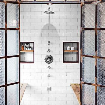 House Beautiful - bathrooms: frosted glass shower, shower with double doors, double door shower, shower bench, tiled shower niche, shower niche, subway shower surround, diamond pattern shower floor, face to face shower benches, shower benches facing each other, dual shower niches, industrial shower, ,