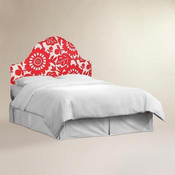 Beds/Headboards - Gerber Elsie Headboard | World Market - cherry red and white floral headboard, contemporary red floral headboard, red and white floral headboard,