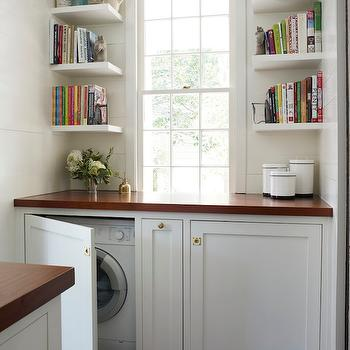 Lacquered Life - laundry/mud rooms - hidden washer dryer, hidden washer and dryer, concealed washer dryer, concealed washer and dryer, floating shelves, stacked floating shelves, stacked shelves, wood countertops, laundry rooms,