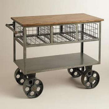 Storage Furniture - Bryant Mobile Kitchen Cart | World Market - vintage style kitchen cart, metal kitchen cart with wood top, industrial kitchen cart, vintage factory style kitchen cart, factory style kitchen cart,