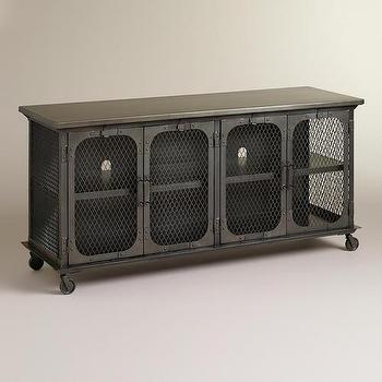 Storage Furniture - Bexley Media Stand | World Market - industrial media cabinet, industrial media stand, iron media cabinet,