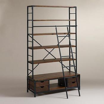 Storage Furniture - Metal Bookcase and Ladder | World Market - metal and white bookcase, industrial bookcase, industrial bookcase with library ladder,