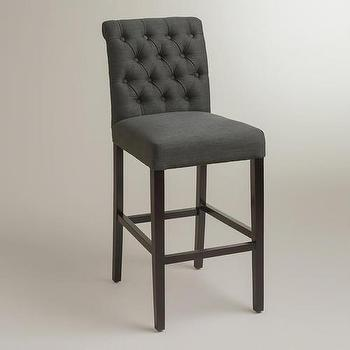 Seating - Gray Harper Barstool, Set of 2 | World Market - charcoal gray button tufted barstool, dark gray button tufted barstool, charcoal gray tufted barstool,