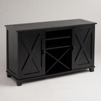 Storage Furniture - Antique Black Verona Buffet | World Market - black buffet, black x front buffet, black buffet with wine storage,