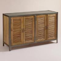 Storage Furniture - Double Shutter Doors Holbrook Sideboard | World Market - louvered sideboard with metal frame, louver front sideboard, louvered acacia wood sideboard, acacia wood sideboard with metal frame,