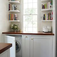 Lacquered Life - laundry/mud rooms: hidden washer dryer, hidden washer and dryer, concealed washer dryer, concealed washer and dryer, floating shelves, stacked floating shelves, stacked shelves, wood countertops, laundry rooms,