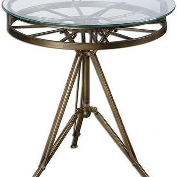 Tables - Levi Clock Table | HomeDecorators.com - clock face side table, clock face accent table, brass clock face table,