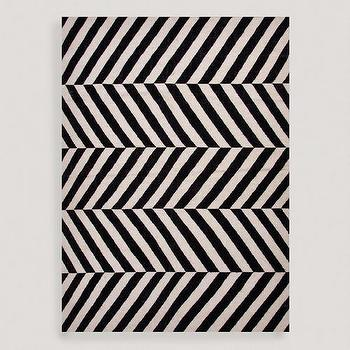 Rugs - Black Avira Flat-Woven Wool Rug | World Market - black and white geometric rug, diagonal black and white striped rug, graphic black and white rug,