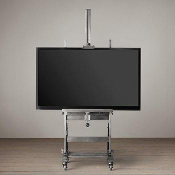 Storage Furniture - Gunmetal TV Easel I Restoration Hardware - metal tv easel, gunmetal tv easel, artists easel television stand,