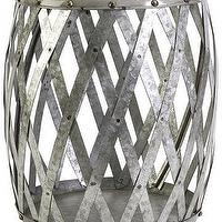 Seating - Marne Garden Stool | HomeDecorators.com - silver drum garden stool, silver criss crossed stool, antiqued silver drum stool,