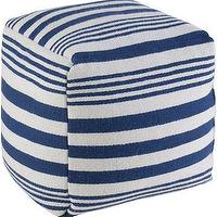 Seating - Stockport Striped Pouf | HomeDecorators.com - blue and white striped pouf, blue and white striped floor pouf, blue striped pouf,
