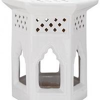 Seating - Shanghai Garden Stool | HomeDecorators.com - white asian style garden stool, white hexagonal shaped garden stool, white diamond cut garden stool,
