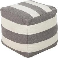 Seating - Linear Pouf | HomeDecorators.com - gray and white striped pouf, gray striped pouf, gray and white cube shaped pouf,