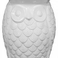 Seating - Owl Garden Stool | HomeDecorators.com - owl garden stool, owl shaped stool, owl shaped side table, white owl garden stool,