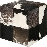 Seating - Cowhide Pouf | HomeDecorators.com - patchwork cowhide pouf, brown and white cowhide pouf, cube shaped cowhide pouf,