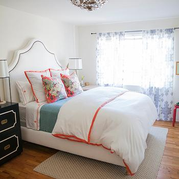 White And Orange Bedding Contemporary Bedroom