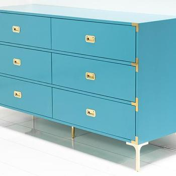Storage Furniture - Jet Set Dresser in Turquoise I Room Service Store - turquoise campaign chest with brass hardware, turquoise dresser with brass campaign hardware, glossy turquoise campaign dresser, turquoise lacquered campaign dresser, glossy turquoise dresser with brass legs and campaign hardware,